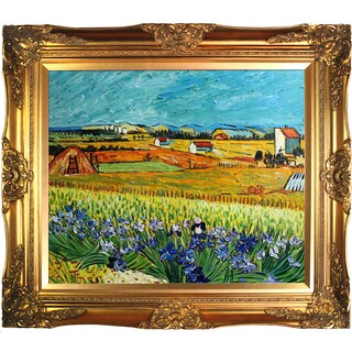La Pastiche Original 'Harvest with Irises Collage' Hand-painted Framed Canvas Art