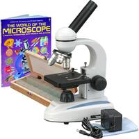 AmScope 40x-1000x Microscope with 50 Prepared Slides and Microscope Book