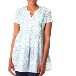 Handmade Cotton 'Teal Harmony' Blouse (India)