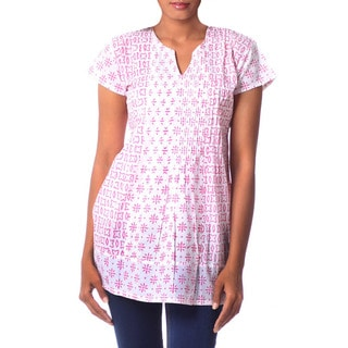 Handcrafted Cotton 'Rose Harmony' Blouse (India)