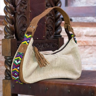 Leather Accent Cotton 'San Juan' Baguette Handbag (Guatemala)
