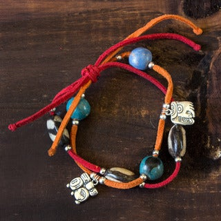 Handcrafted Leather 'Maya Destiny' Ceramic Bracelet (Honduras)