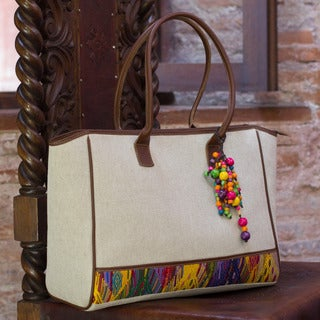 Leather Accent Cotton 'Beads Of San Juan' Tote (Guatemala)