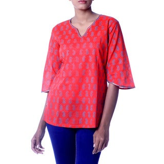 Handcrafted Beaded Cotton 'Crimson Delhi' Tunic (India)