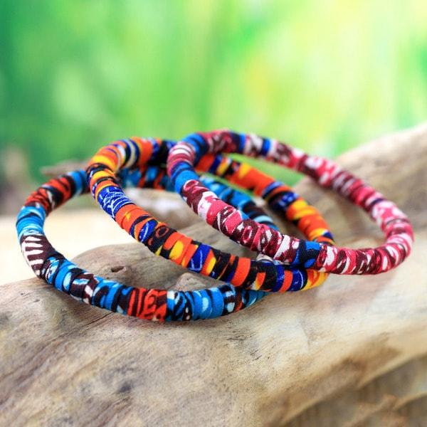 Handmade Set of 3 Cotton 'Katawodiesu in Blue' Bangle Bracelets (Ghana)
