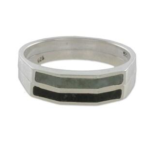 Set of 2 Sterling Silver 'Churumbelas' Jade Rings (Guatemala)