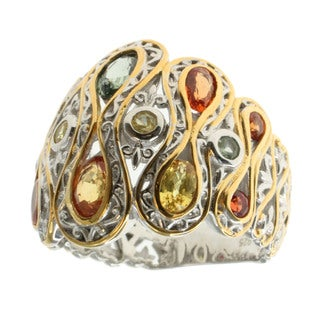 Michael Valitutti Palladium Silver Multi Sapphire Ring