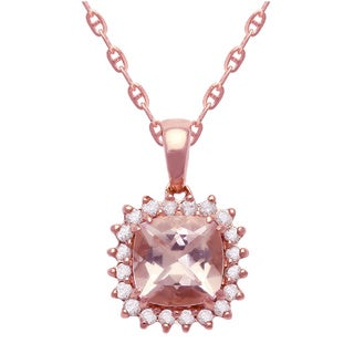 10k Rose Gold 1/14ct. TDW Diamond and Morganite Halo Necklace (H-I, I2-I3) - Pink