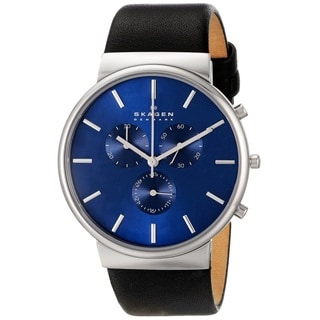 Skagen 'Ancher' Men's Stainless Steel and Leather SKW6105 Watch