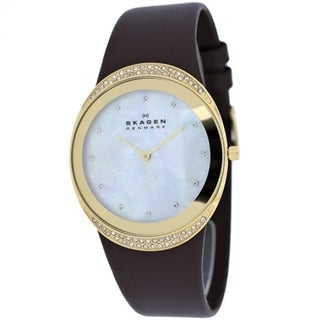 Skagen 'Steel' Women's Gold Tone Ion Plated Stainless Steel and Leather Watch