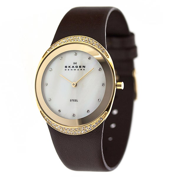 Skagen 'Steel' Women's Gold Tone Ion Plated Stainless Steel and Leather 452LGLD Watch