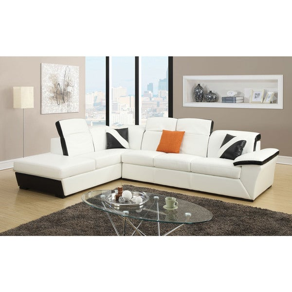 Sienna Sectional Sofa In White And Black Bonded Leather Match