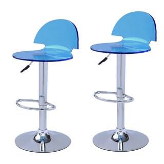 Adeco Blue Acrylic Hydraulic Lift Adjustable Barstools (Set of 2)