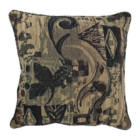 Blazing Needles 25-inch 'Antiquity' Jacquard Chenille Square Throw Pillow with Insert