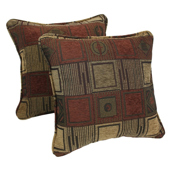 Blazing Needles 18-inch Manhattan Jacquard Chenille Square Throw Pillows with Inserts (Set of ...