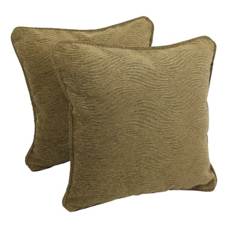 Blazing Needles 18-inch 'Champagne' Jacquard Chenille Square Throw Pillows with Inserts (Set of 2)