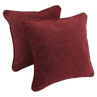 Blazing Needles 18-inch 'Bordeaux' Jacquard Chenille Square Throw Pillows with Inserts (Set of 2)