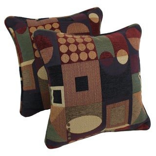 Blazing Needles 18-inch 'Kaleidoscope' Jacquard Chenille Square Throw Pillows with Inserts (Set of 2)