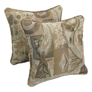 Blazing Needles 18-inch 'Wind Song' Jacquard Chenille Square Throw Pillows with Inserts (Set of 2)