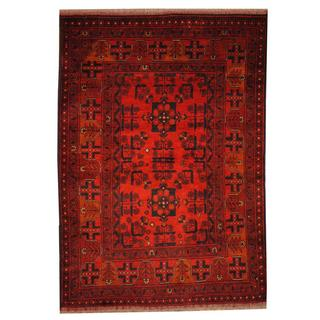 Herat Oriental Semi-antique Afghan Hand-knotted Tribal Balouchi Rust/ Navy Wool Rug (3'4 x 4'10)