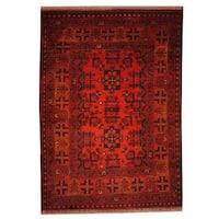 Handmade Herat Oriental Semi-antique Afghan Tribal Balouchi Rust/ Navy Wool Rug (Afghanistan) - 3'4 x 4'10