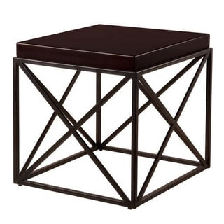 Casual Metal and Wood End Table