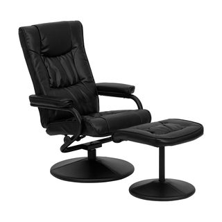 Offex Contemporary Black Leather Recliner and Ottoman with Leather Wrapped Base