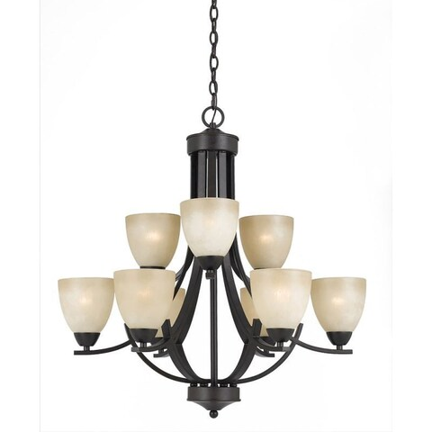 Value Collection 8000 Lumenno International Transitional 9-light Bronze Chandelier with Tea Stained Shade