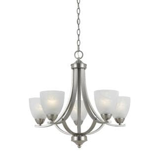Value Collection 8001 Lumenno International Transitional 5-light Satin Nickel Chandelier