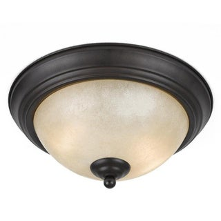 Value Collection 8000 Lumenno International Transitional 2-light Bronze Flush Mount with Tea Stained Glass