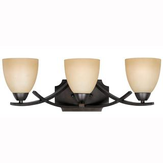 Value Collection 8000 Lumenno International Transitional 3-light Bronze Vanity Light with Tea Stained Glass