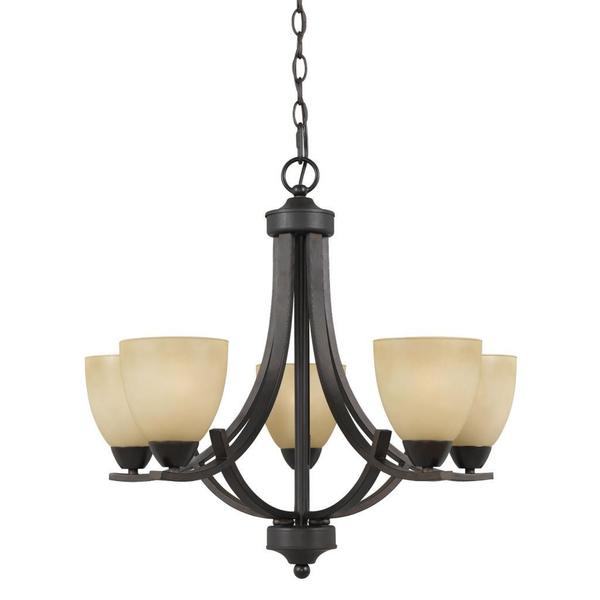 Value Collection 8000 Lumenno International Transitional 5 Light Bronze Chandelier With Tea Stained Shade