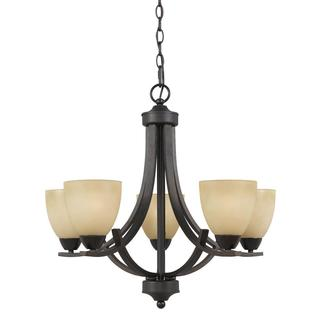 Value Collection Lumenno International Transitional 5-Light Bronze Chandelier with Tea Stained Glass Shades