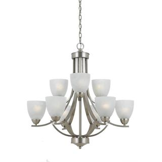 Value Collection 8001 Lumenno International Transitional 9-light Satin Nickel Chandelier - Satin Nickel