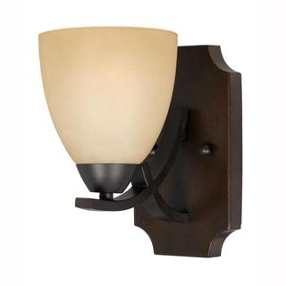 Value Collection Lumenno International Transitional 1-light Bronze Wall Sconce/ Vanity Light with Tea Stained Shade