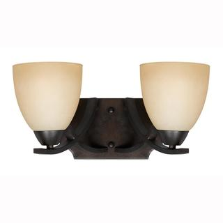 Value Collection Lumenno International Transitional 2-light Bronze Wall Sconce/ Vanity Light with Tea Stained Shade