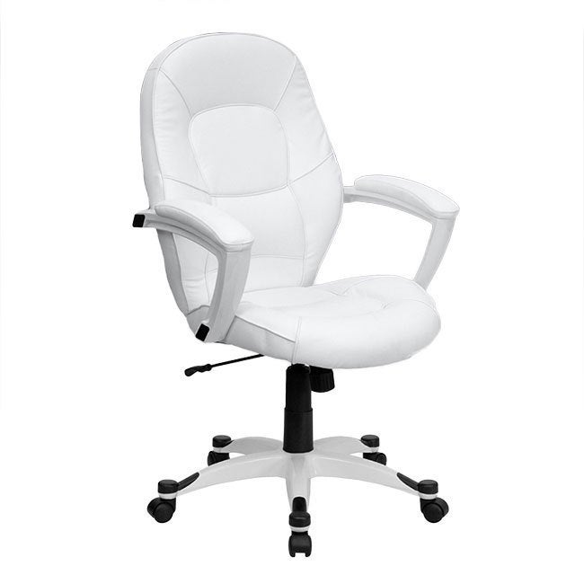 Offex Mid-Back White Leather Executive Office Chair (Blac...