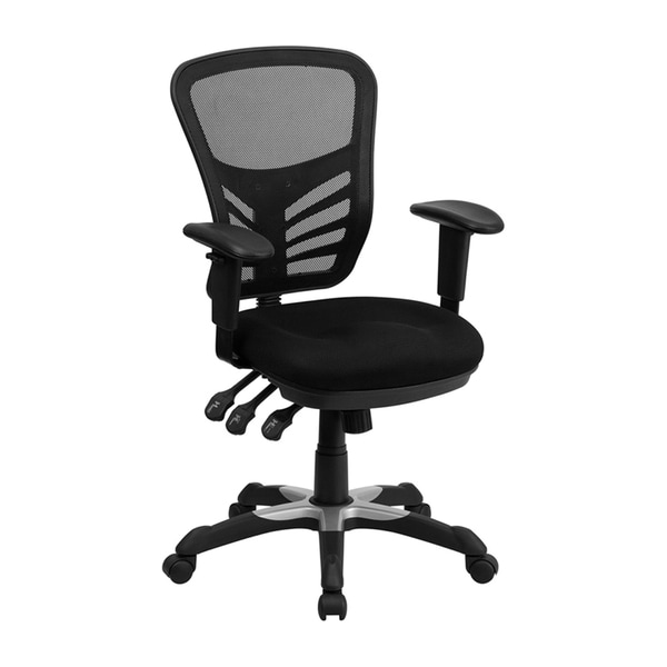 Offex Mid-back Black Mesh Chair with Triple Paddle Control