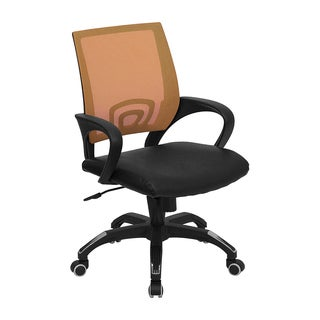 Offex Mid-back Orange Mesh Computer Chair with Black Leather Seat