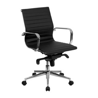 Offex Mid-back Ribbed Black Leather Conference Chair
