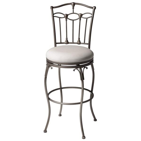 Leggett & Platt Concord Metal Barstool with Linen Upholstered Swivel-Seat