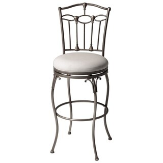 Concord Metal Barstool with Linen Upholstered Swivel-Seat