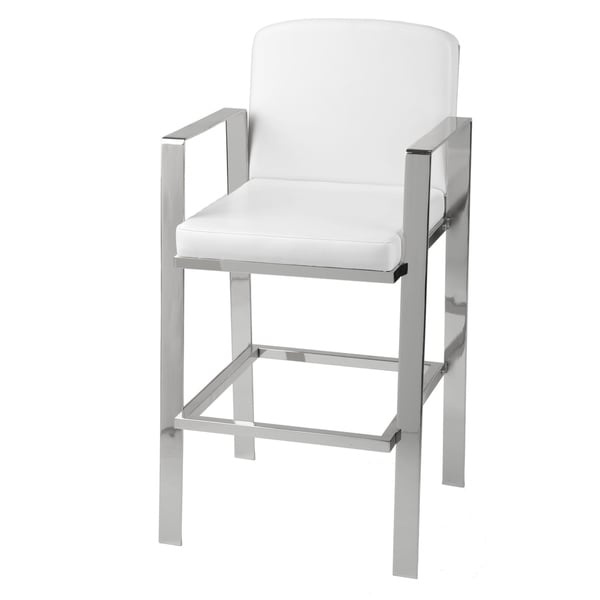Leggett & Platt Juneau Metal Barstool with White Upholstered Seat