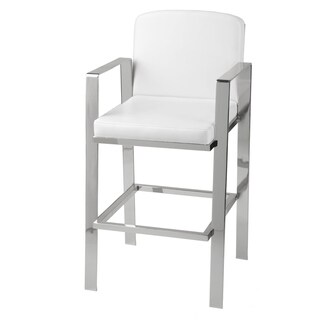 Juneau Metal Barstool with White Upholstered Seat