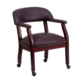 Offex Burgundy Leather Conference Chair with Casters
