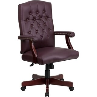 Offex Martha Washington Burgundy Leather Executive Swivel Chair with Arms