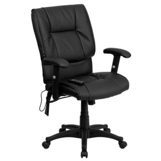 Offex Mid-back Massaging Black Leather Executive Office Chair