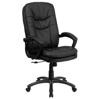 Offex Office Mid-back Massaging Black Leather Executive Chair