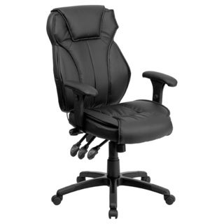 Offex High Back Black Leather Executive Office Chair with Triple Paddle Control