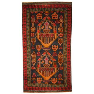 Herat Oriental Afghan Hand-knotted 1960s Semi-antique Tribal Balouchi Wool Rug (2'6 x 4'8)